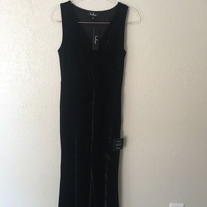 NWT Black Velvet Front Slit Long Lulus Dress